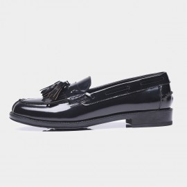 Beau Glossy Leather Tassel Black Loafers (27001)