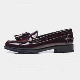 Beau Glossy Leather Tassel Wine Loafers (27001)