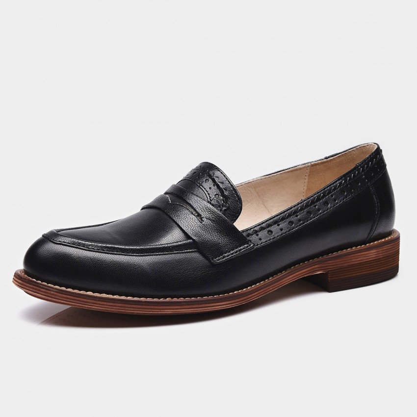 Buy Beau Brogued Penny Gradient Sole Black Loafers online, shop Beau with free shipping