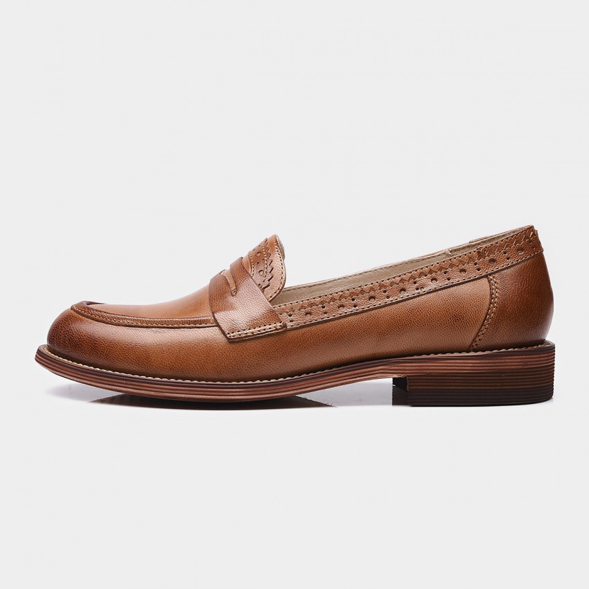 Buy Beau Brogued Penny Gradient Sole Brown Loafers online, shop Beau with free shipping