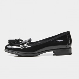 Beau Glossy Leather Tassel Black Loafers (27022)