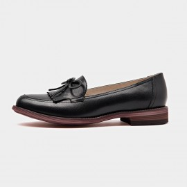 Beau Ribbon Gradient Sole Black Loafers (27031)