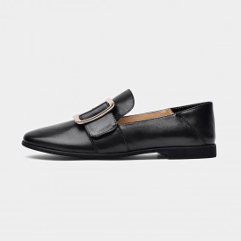 Beau Chic Buckle Piece Black Loafers (27036)