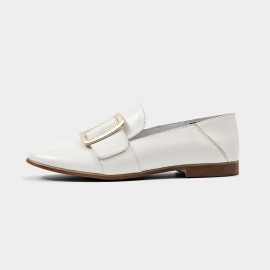 Beau Chic Buckle Piece White Loafers (27036)