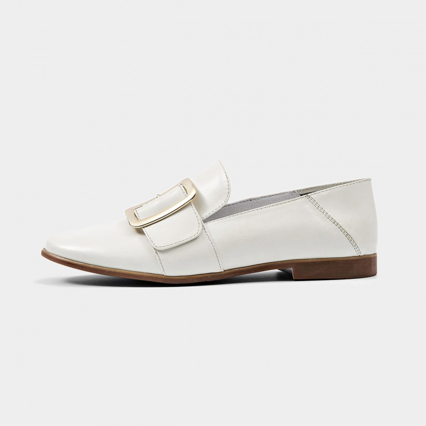 Buy Beau Chic Buckle Piece White Loafers online, shop Beau with free shipping