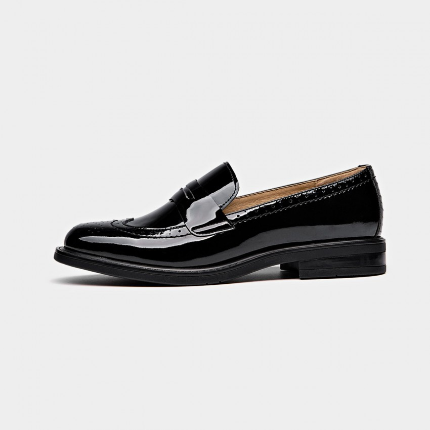 Buy Beau Glossy Brogued Penny Black Loafers online, shop Beau with free shipping