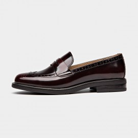 Beau Glossy Brogued Penny Wine Loafers (27039)