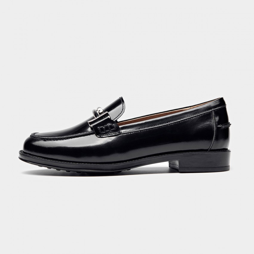 Buy Beau Glossy Metal Piece Black Loafers online, shop Beau with free shipping