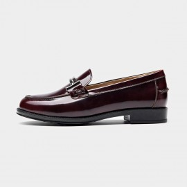Beau Glossy Metal Piece Wine Loafers (27040)