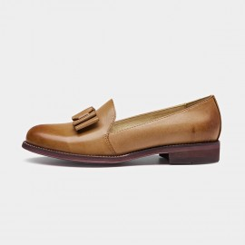Beau Bow Gradient Sole Brown Loafers (27046)