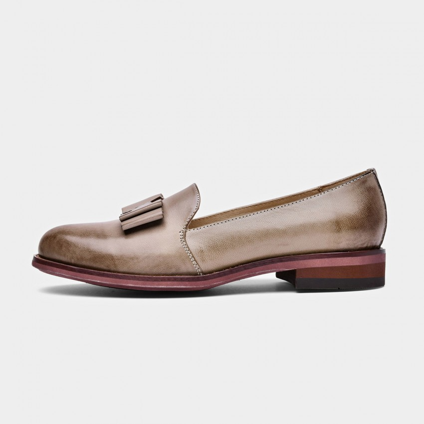 Buy Beau Bow Gradient Sole Khaki Loafers online, shop Beau with free shipping