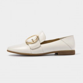 Beau Circular Buckle Piece White Loafers (27047)