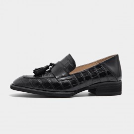 Beau Pattern Leather Tassel Black Loafers (27053)