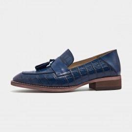 Beau Pattern Leather Tassel Blue Loafers (27053)