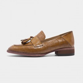 Beau Pattern Leather Tassel Brown Loafers (27053)