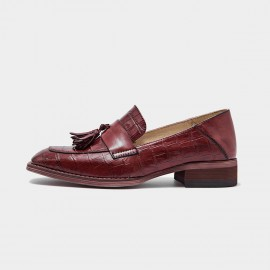 Beau Pattern Leather Tassel Red Loafers (27053)