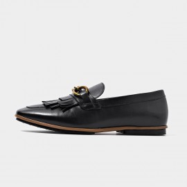 Beau Gold Chain Tassel Black Loafers (27063)
