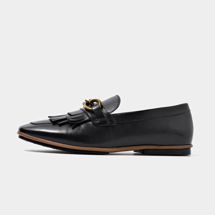 Buy Beau Gold Chain Tassel Black Loafers online, shop Beau with free shipping
