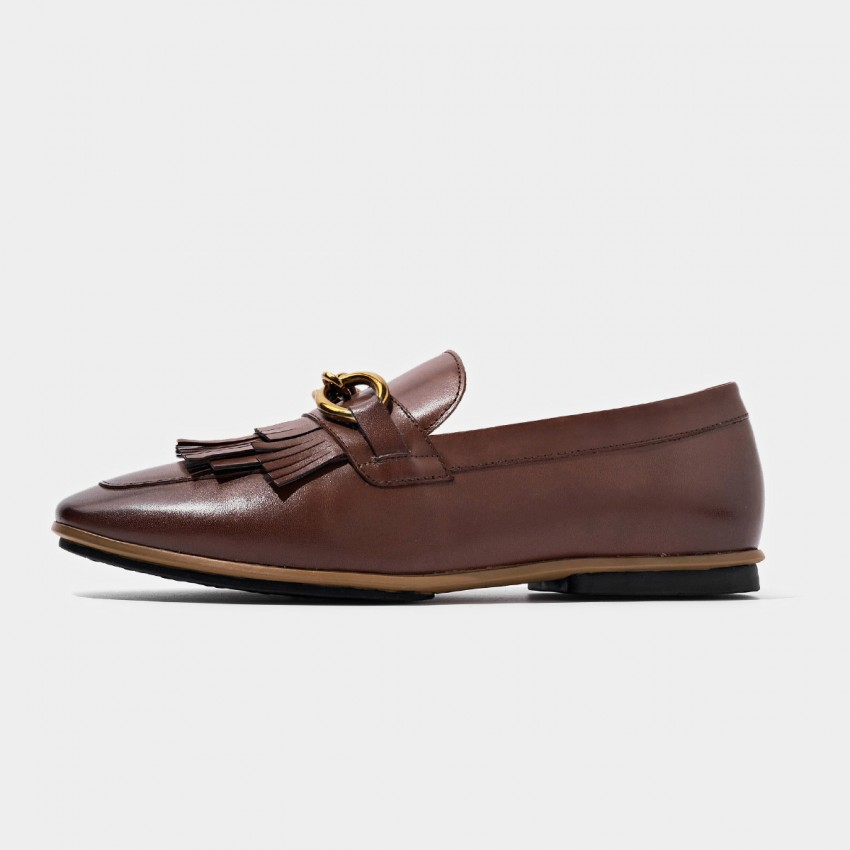Buy Beau Gold Chain Tassel Brown Loafers online, shop Beau with free shipping