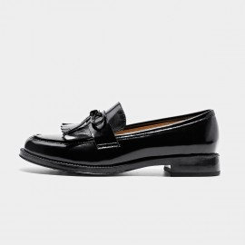 Beau Glossy Ribbon Tassel Black Loafers (27064)