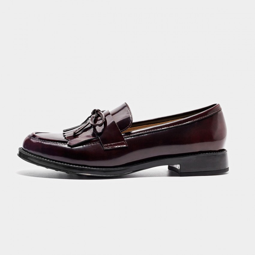 Buy Beau Glossy Ribbon Tassel Wine Loafers online, shop Beau with free shipping