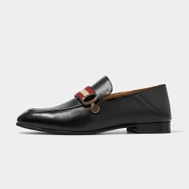 Beau Contrast Strap Black Loafers (27070)
