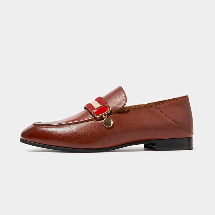 Buy Beau Contrast Strap Brown Loafers online, shop Beau with free shipping