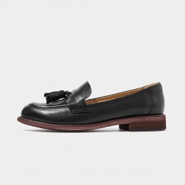 Beau Matte Leather Tassel Gradient Sole Black Loafers (27075)