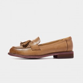Beau Matte Leather Tassel Gradient Sole Brown Loafers (27075)