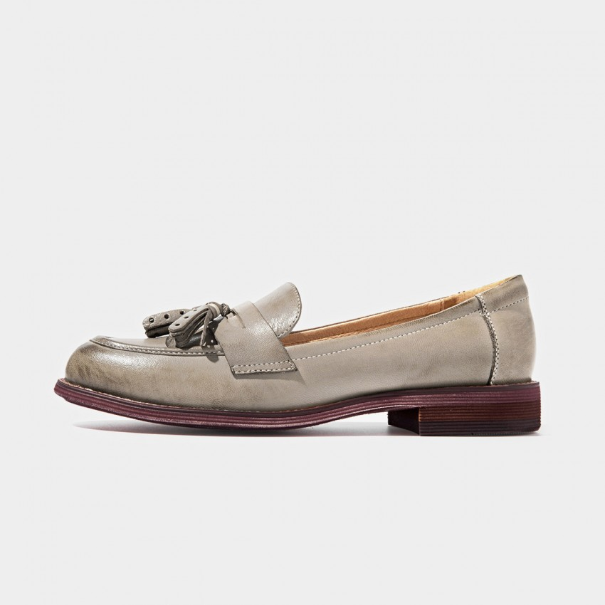 Beau Matte Leather Tassel Gradient Sole Grey Loafers (27075)