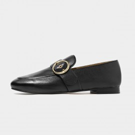 Beau Matte Leather Punch Holes Buckle Black Loafers (27076)