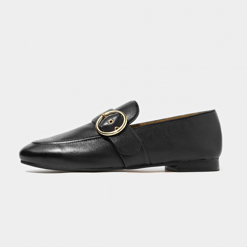 Buy Beau Matte Leather Punch Holes Buckle Black Loafers online, shop Beau with free shipping