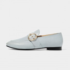 Beau Matte Leather Punch Holes Buckle Blue Loafers (27076)