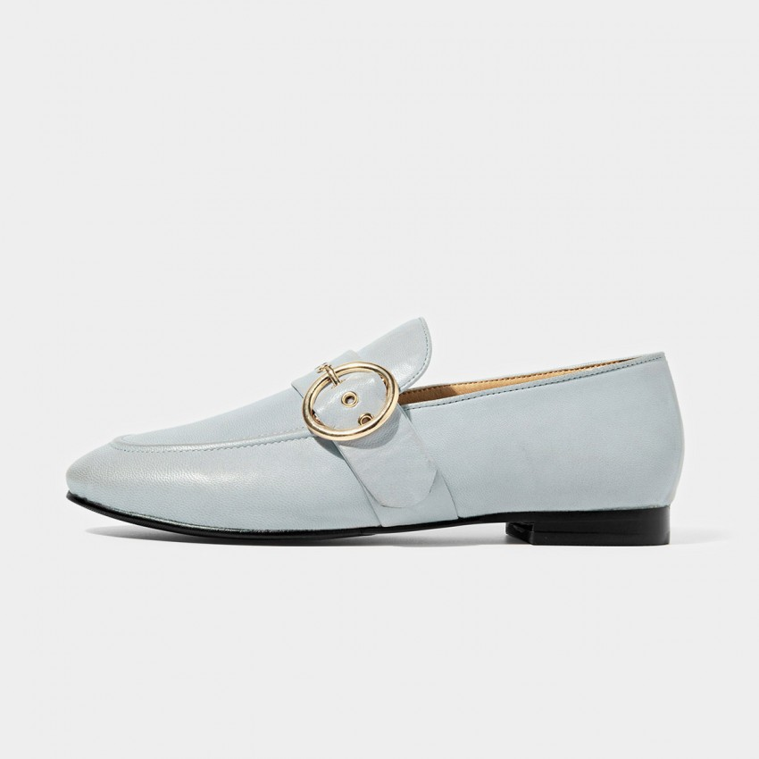 Buy Beau Matte Leather Punch Holes Buckle Blue Loafers online, shop Beau with free shipping