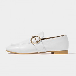 Beau Matte Leather Punch Holes Buckle White Loafers (27076)