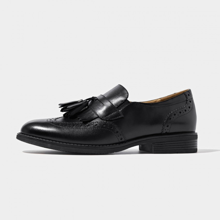 Buy Beau Vintage Brogued Tassel Black Loafers online, shop Beau with free shipping
