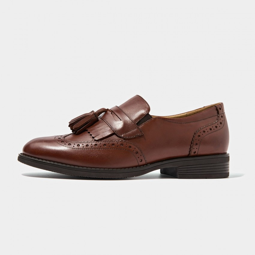 Buy Beau Vintage Brogued Tassel Brown Loafers online, shop Beau with free shipping