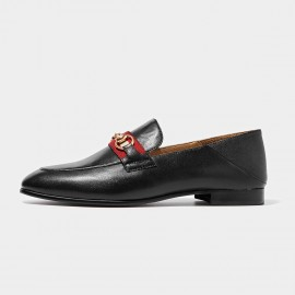 Beau Contrast Strap Horsebit Black Loafers (27078)