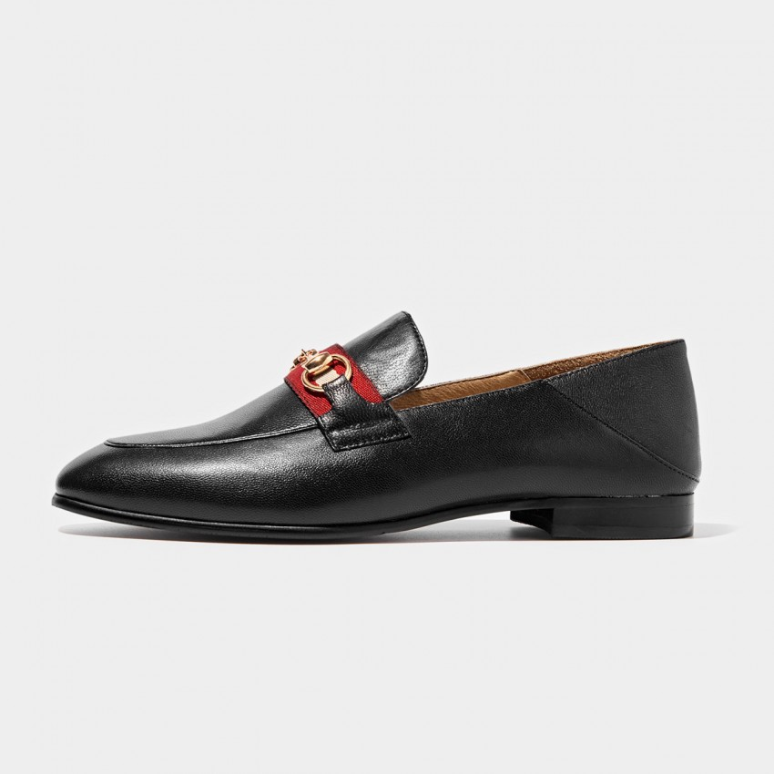 Buy Beau Contrast Strap Horsebit Black Loafers online, shop Beau with free shipping