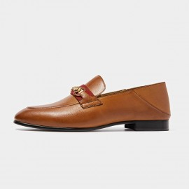 Beau Contrast Strap Horsebit Brown Loafers (27078)