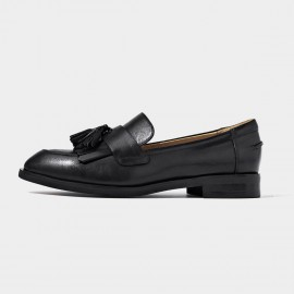 Beau Basic Tassel Black Loafers (27081)