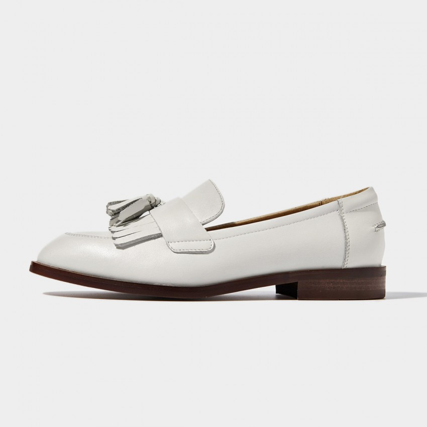 Buy Beau Basic Tassel White Loafers online, shop Beau with free shipping