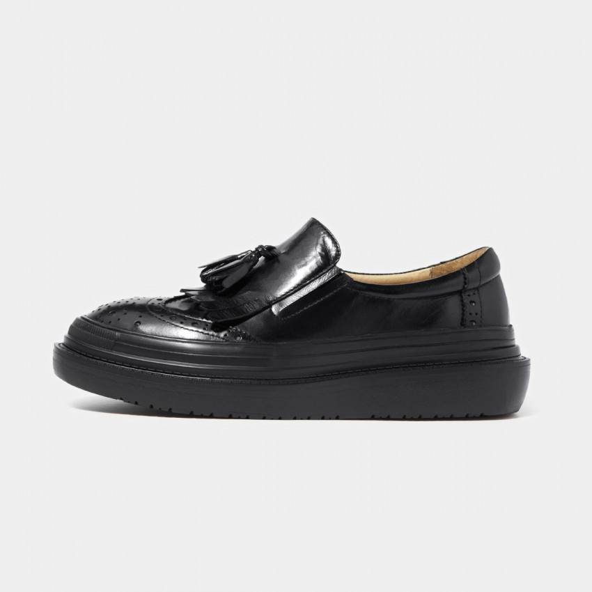 Buy Beau Glossy Brogued Platform Tassel Black Loafers online, shop Beau with free shipping