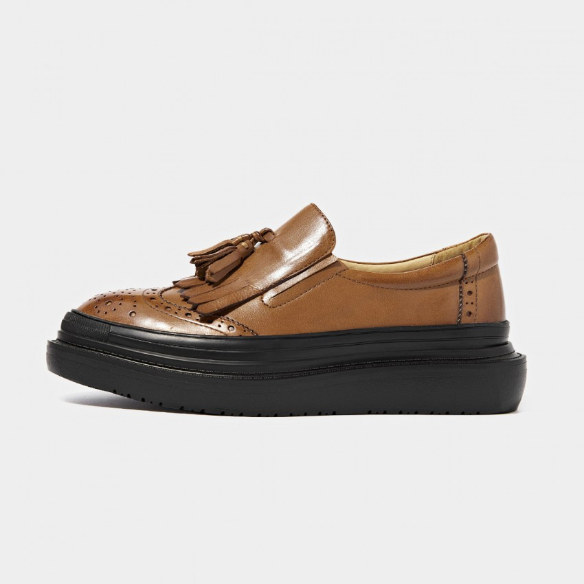 Buy Beau Glossy Brogued Platform Tassel Brown Loafers online, shop Beau with free shipping