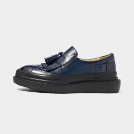 Beau Glossy Brogued Platform Tassel Navy Loafers (27082)