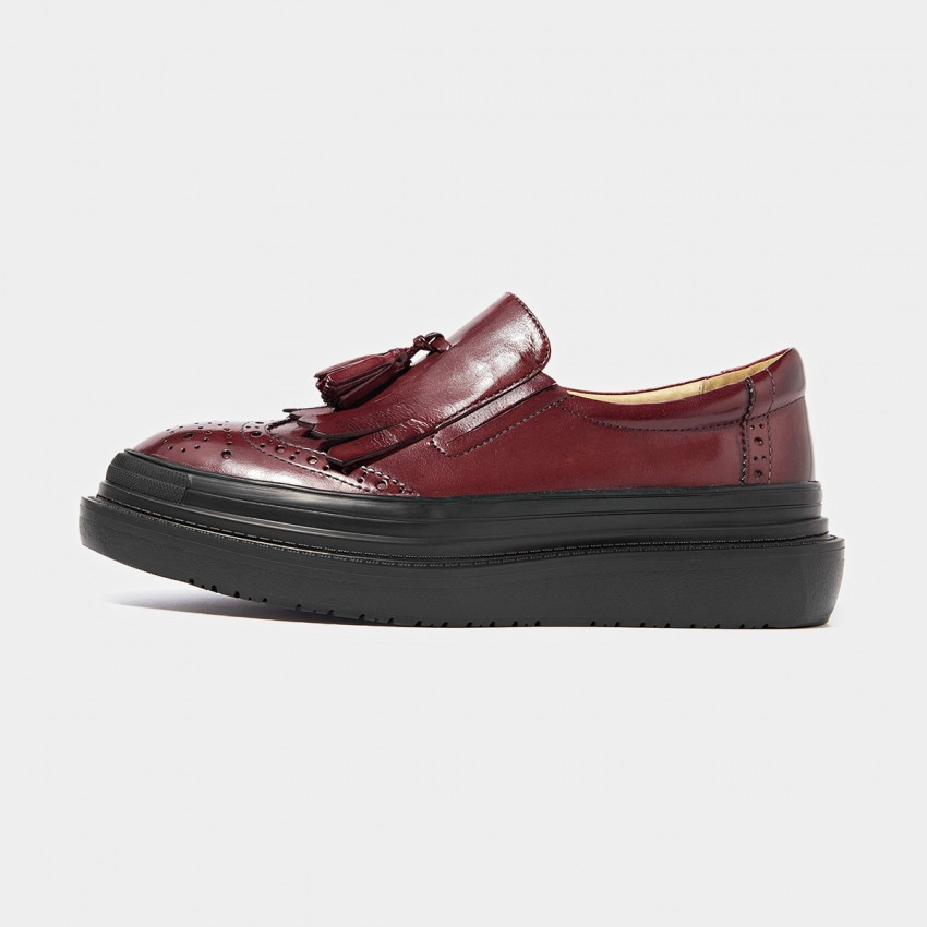 Buy Beau Glossy Brogued Platform Tassel Red Loafers online, shop Beau with free shipping