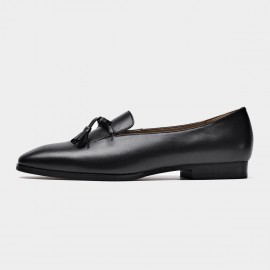 Beau Minimalist Ribbon Tassel Black Loafers (27084)