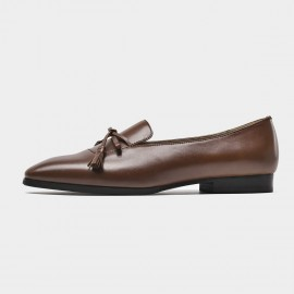 Beau Minimalist Ribbon Tassel Brown Loafers (27084)