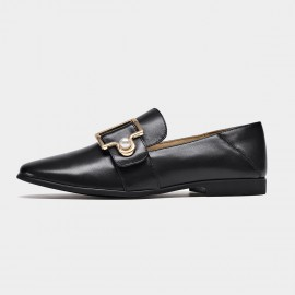 Beau Two-Way Pearl Buckle Black Loafers (27087)