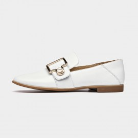 Beau Two-Way Pearl Buckle White Loafers (27087)